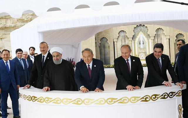 Prezidentlər Xəzərə nərə buraxdılar - Fotolar